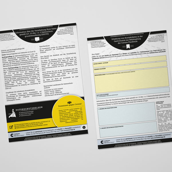 Kontaktdaten Registrierung Gastronomie Corona Block Kostenlos